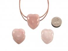 Drilled Rose Quartz Heart Pendant - 1 pc
