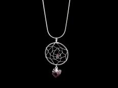 Dreamcatcher Pendant, Amethyst Crystals - Silver/Gold