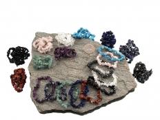Set of 30 Gemstone Chip Bead Bracelets