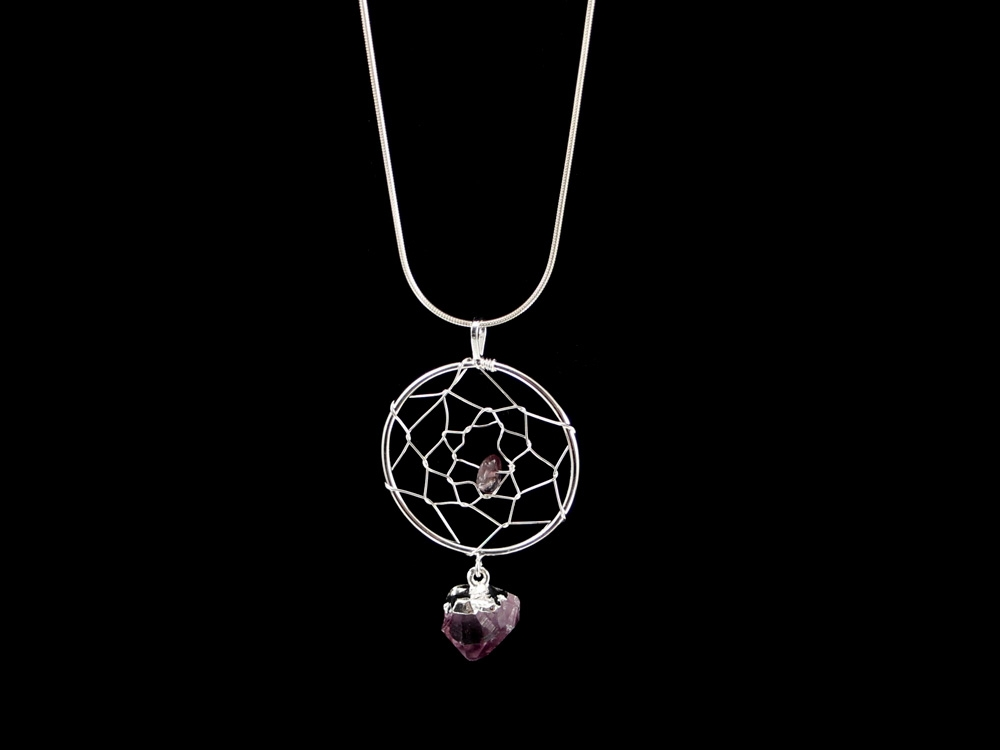 Dreamcatcher pendants with amethysts for sale hausen rock dreamcatcher pendant amethyst crystals silvergold aloadofball Images