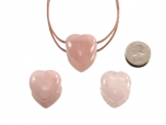 Drilled Rose Quartz Heart Pendant - 1 pc