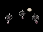 Dreamcatcher Pendant, Amethyst Crystals - Silver/Gold