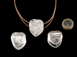 Drilled Rock Crystal Heart Pendant - 1 pc
